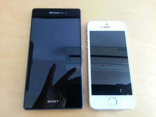 XperiaZ1とiPhone5s大きさ