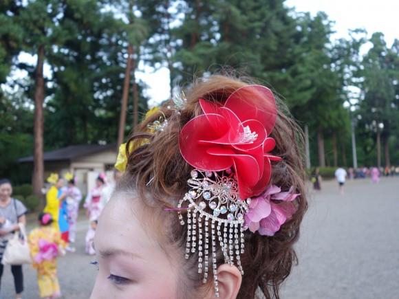 さんさ踊りヘアスタイルと飾り付け21
