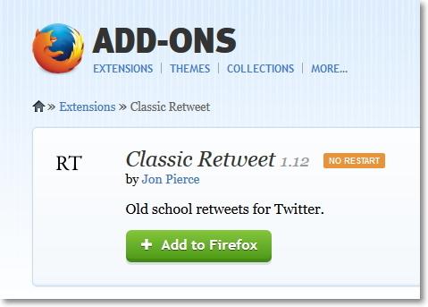 Firefox ClassicRetweet