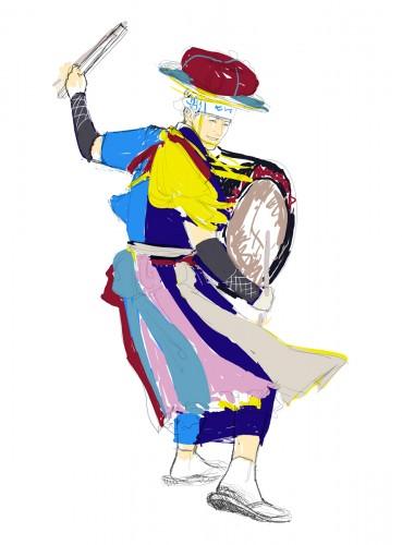 沈黙webさんさ踊りイラストラフ画2