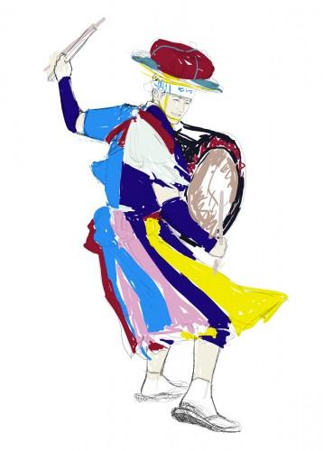 沈黙webさんさ踊りイラストラフ画1