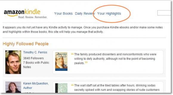 Amazon Kindle your highlits