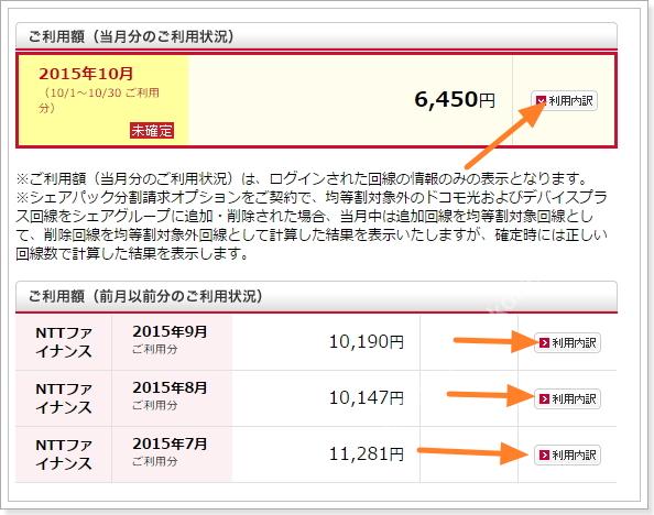 ドコモマイメニューの利用明細内訳