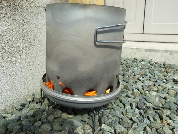 火おこし器火消し壺で焼き栗作り
