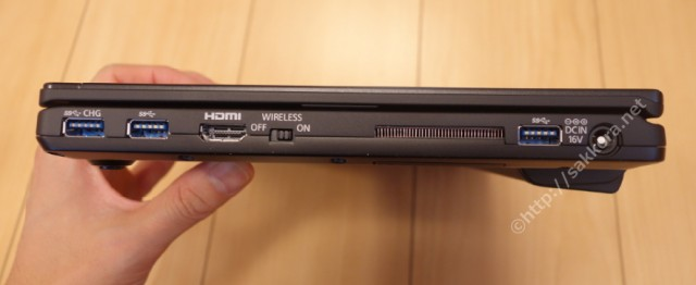 レッツノートSZ5のUSBポート・HDMI・ワイヤレススイッチ