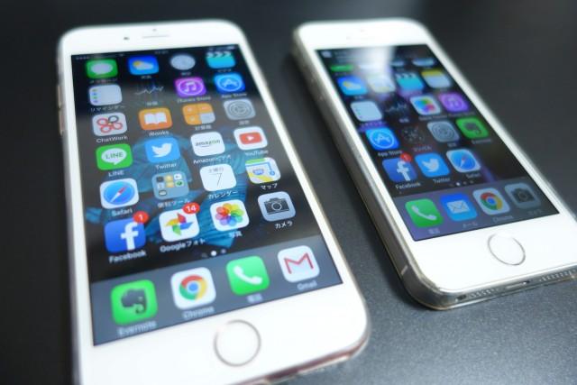 iPhone5sとiPhone6sのディスプレイサイズの違い1
