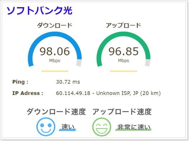 ソフトバンク光の通信速度結果